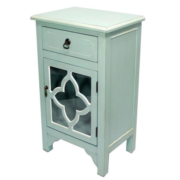 HomeRoots Shelly Assembled 18 in. x 18 in. x 13 in. Light Blue Wood Clear Glass Accent Storage Cabinet with a Drawer and a Door