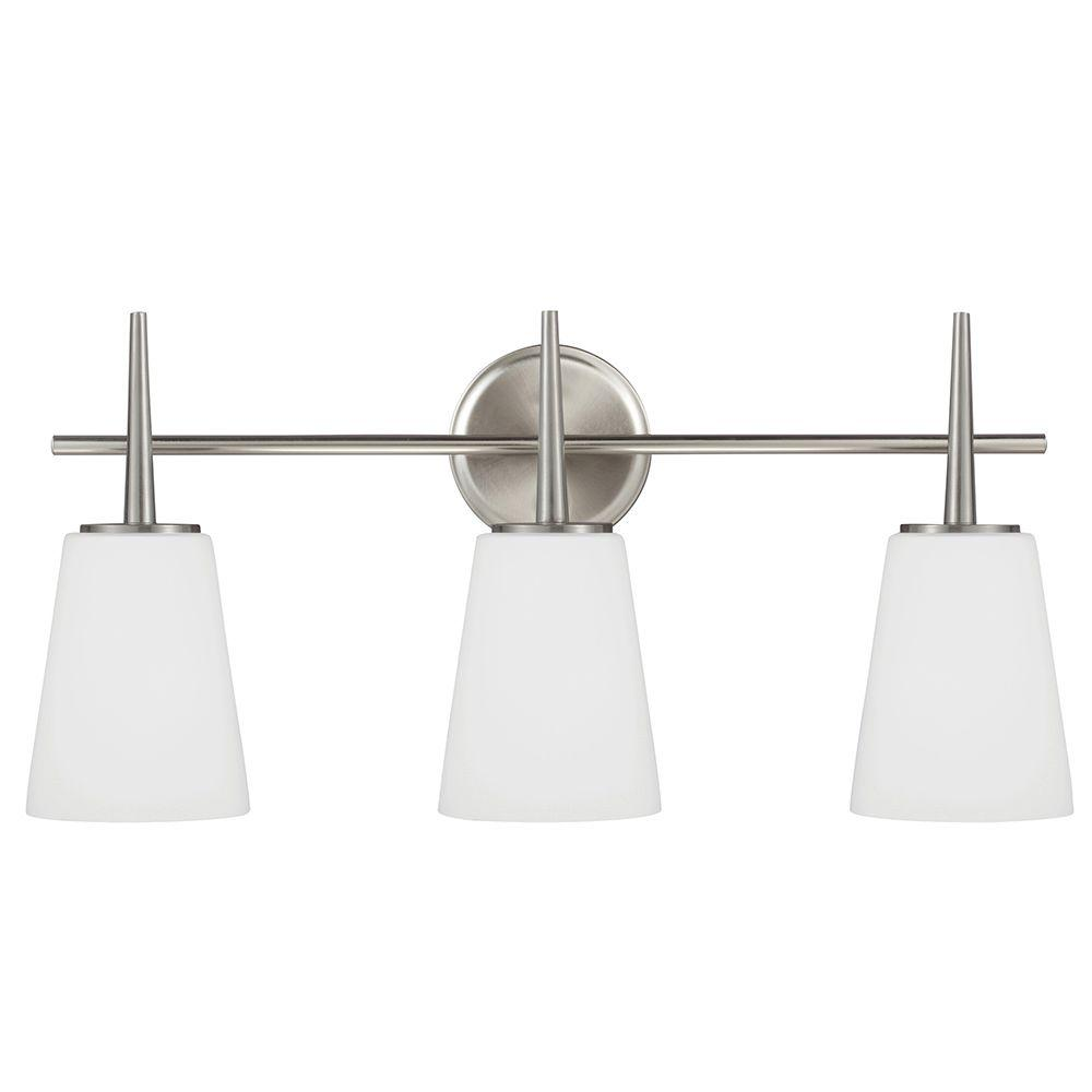 Sea Gull Lighting 44237 962 3 Light Brushed Nickel Bathroom Vanity Wall Fixture: Sea Gull Lighting Driscoll 3-Light Brushed Nickel Wall/Bath Vanity Light With Inside White