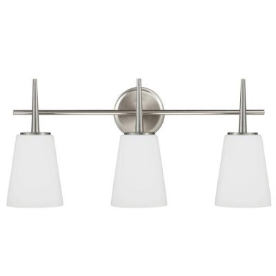 Driscoll 24.5 in. W. 3-Light Brushed Nickel Wall/Bath Vanity Light with Inside White Painted Etched Glass