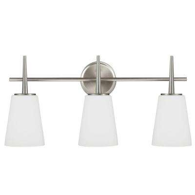 Driscoll 3-Light Brushed Nickel Wall/Bath Vanity Light with Inside White Painted Etched Glass