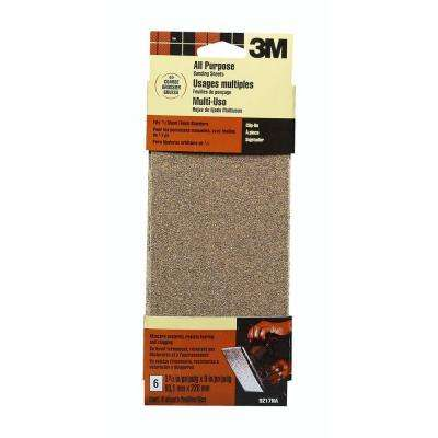 3-2/3 in. x 9 in. 60 Grit Coarse Aluminum Oxide 1/3 Clip-on Sheets (6-Pack)(Case of 30)