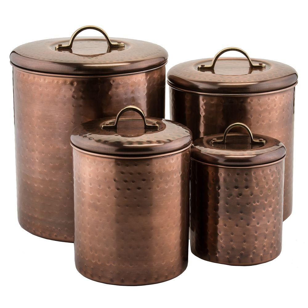 Old Dutch 4 Piece Hammered Antique Copper Canister Set