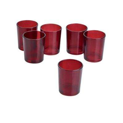 Red Frosted Glass Round Votive Candle Holders (Set of 36)