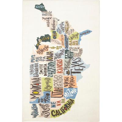 States Map Multi 3 ft. 4 in. x 5 ft. Area Rug