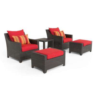 Deco 5-Piece All-Weather Wicker Patio Club Chair and Ottoman Seating Set with Sunset Red Cushions