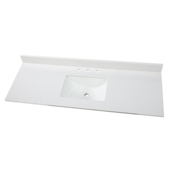 61 in. W x 22 in. D Engineered Marble Vanity Top in Snowstorm with White Single Trough Sink