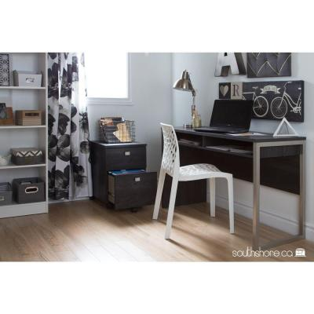 47.5 in. Rectangular Gray Oak Writing Desks with Open Storage