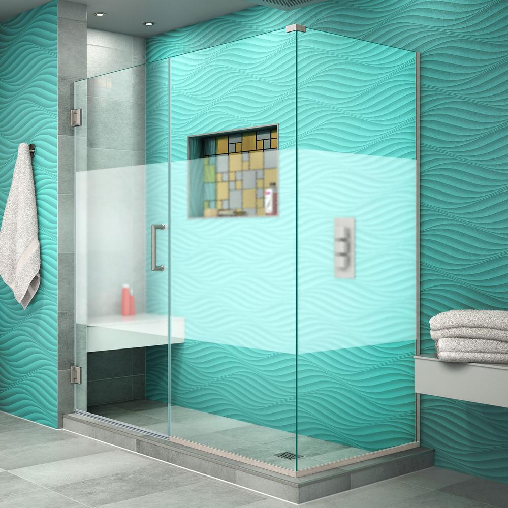 DreamLine Unidoor Plus 30-3/8 in. x 59-1/2 in. x 72 in. Frameless Hinged Corner Shower Enclosure in Brushed Nickel