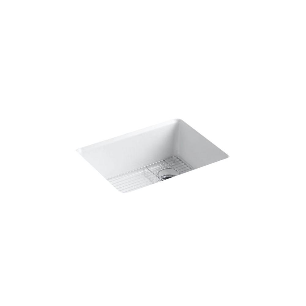 KOHLER Riverby Undermount Cast-Iron 25 in. 5-Hole Single Bowl Kitchen Sink Kit with Bowl Rack in White