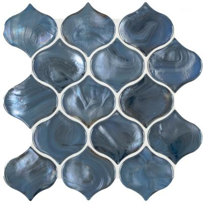 Blue Shimmer Arabesque 10 in. x 10.20 in. x 8mm Glossy Glass Mesh-Mounted Mosaic Tile (7.1 sq. ft. / case)