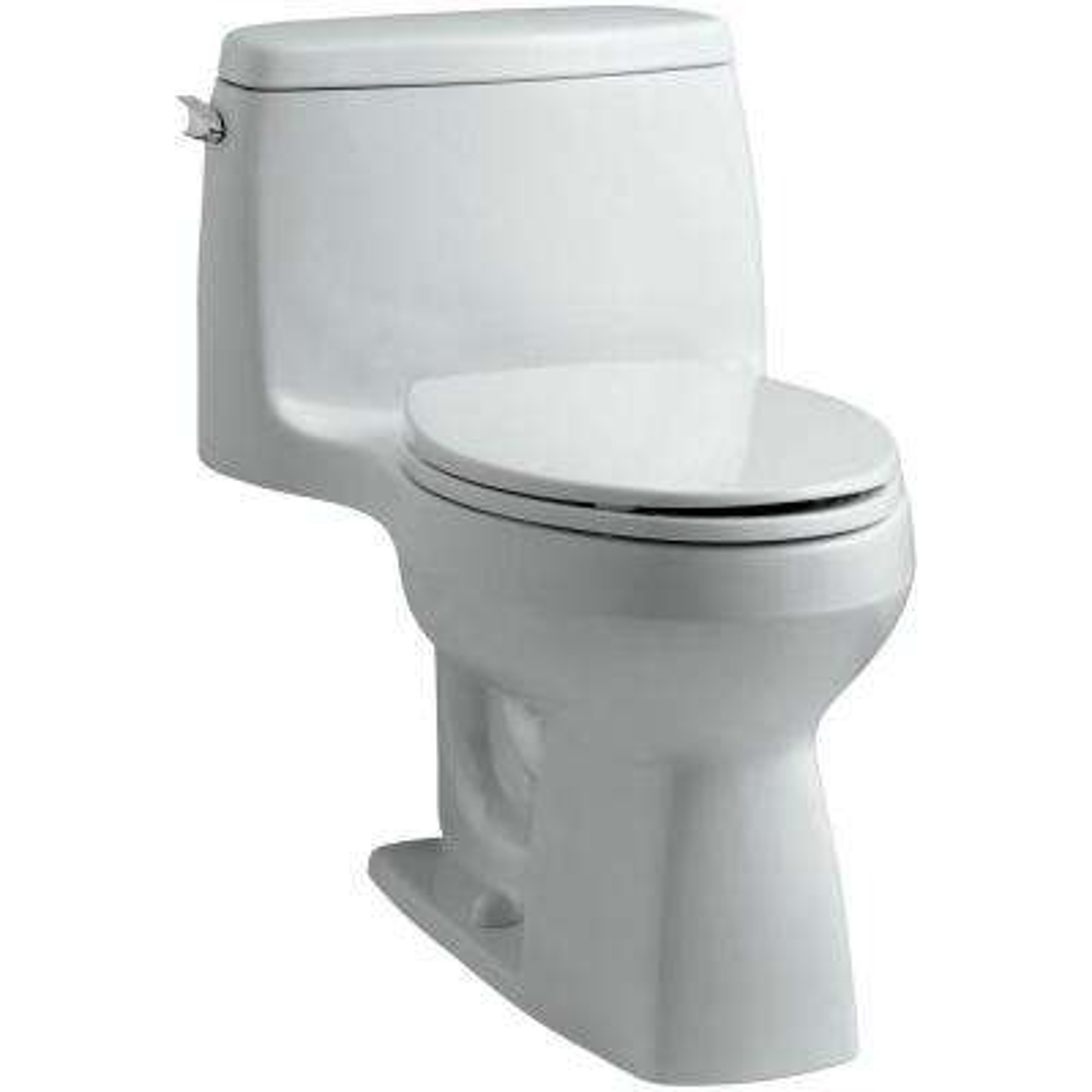 Santa Rosa Comfort Height 1-piece 1.6 GPF Single Flush Compact Elongated Toilet with AquaPiston Flush in Ice Grey