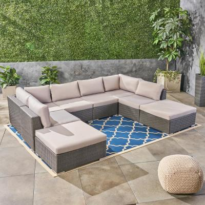 Santa Rosa Grey 8-Piece Wicker and Aluminum Outdoor Sectional Set with Silver Cushions