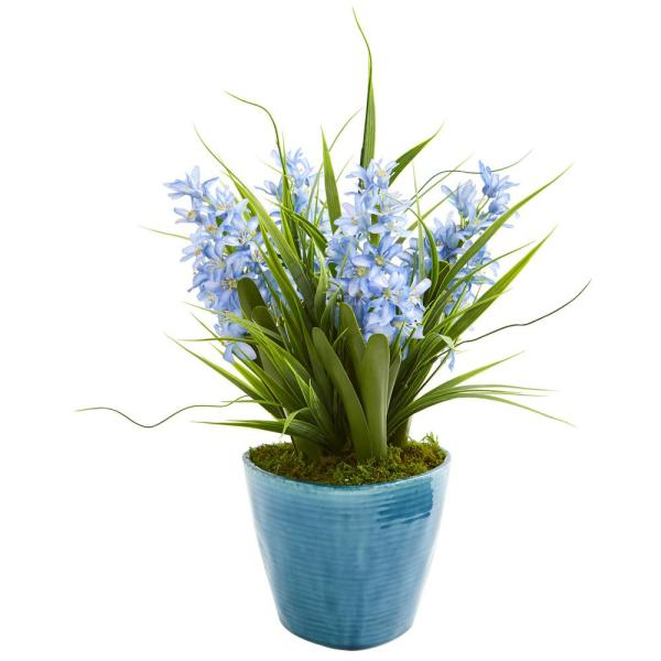 Nearly Natural Indoor Hyacinth Artificial Plant in Blue Vase