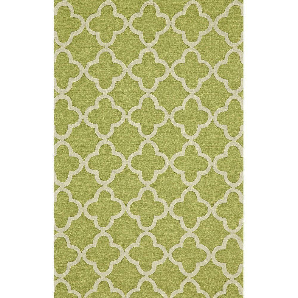 Feizy Hastings Green 3 ft. 6 in. x 5 ft. 6 in. Indoor/Outdoor Area Rug