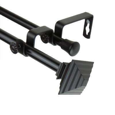 48 in. - 84 in. Quad Double Curtain Rod in Black