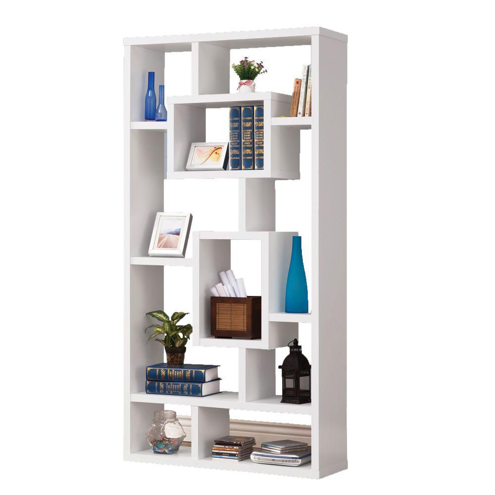 Fantastic White Geometric Cubed Rectangular Bookcase