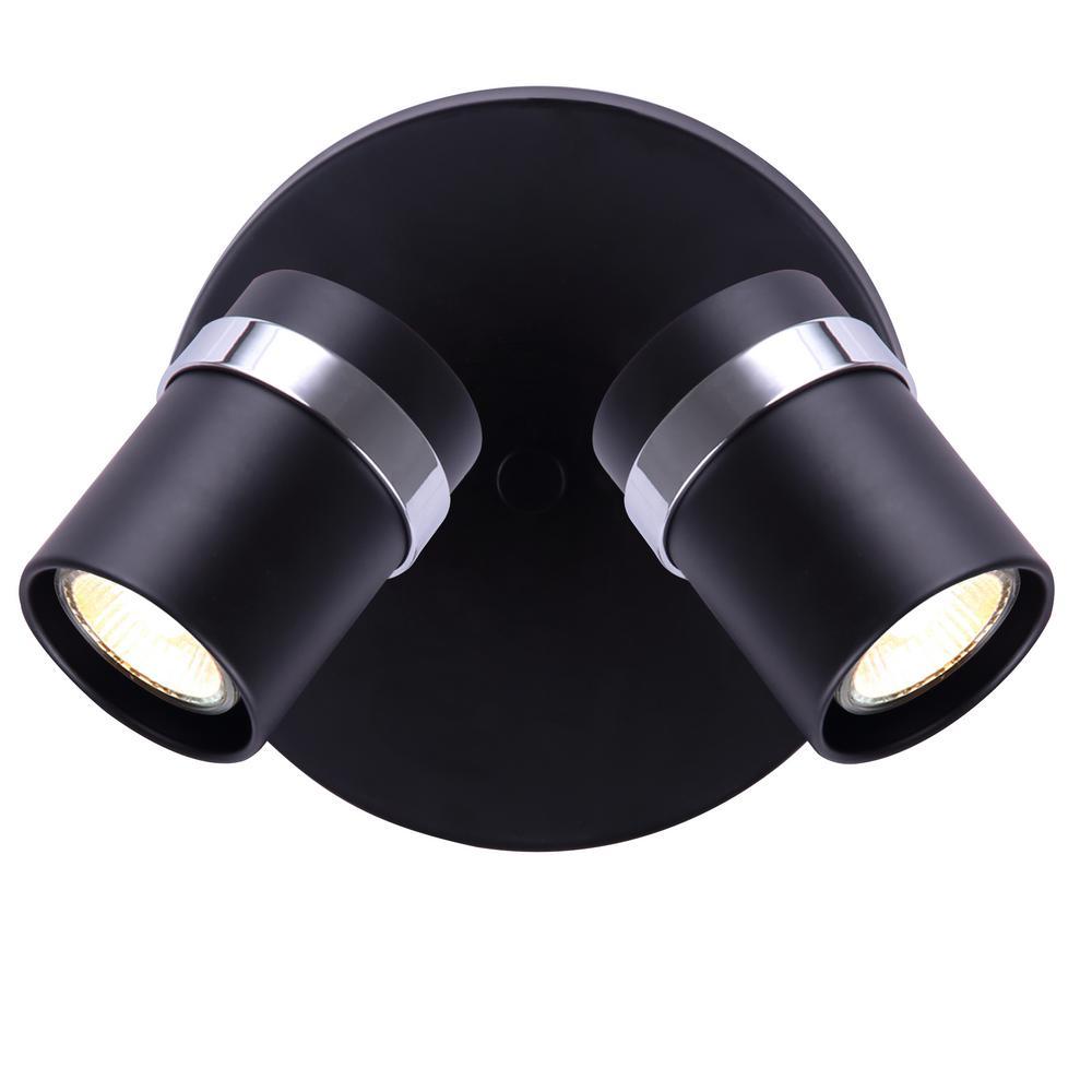 Adelaide 0.58 ft. 2-Light Black and Chrome Halogen Track Lighting Kit