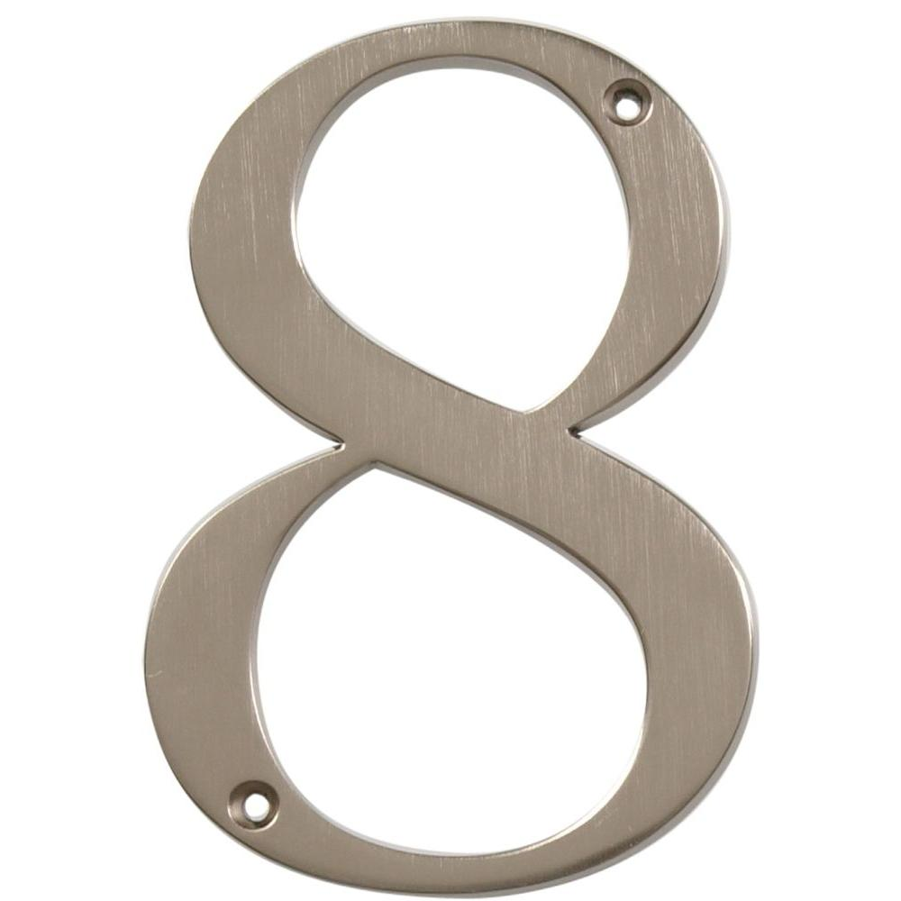 The Hillman Group Distinctions 4 in. Flush Mount Brushed Nickel House Number 8