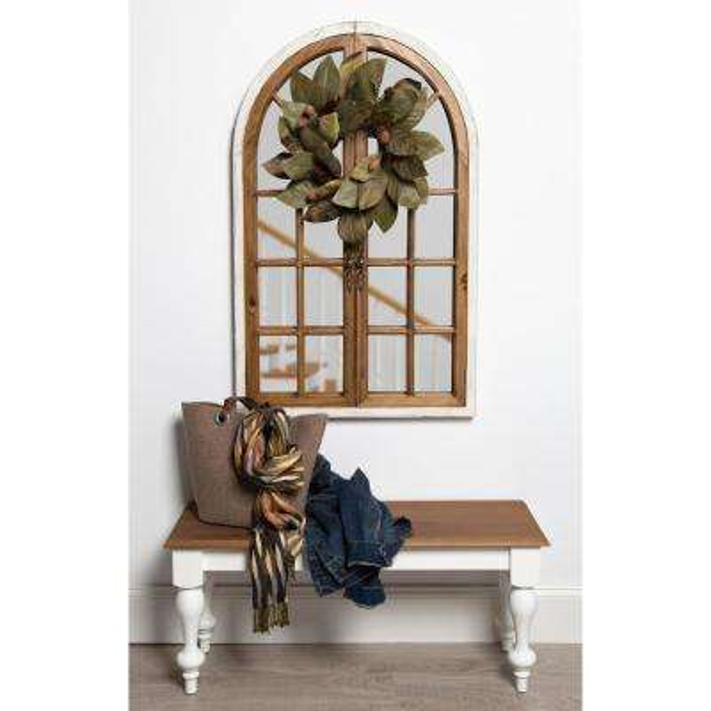 Boldmere Wood Windowpane Arch Mirror White