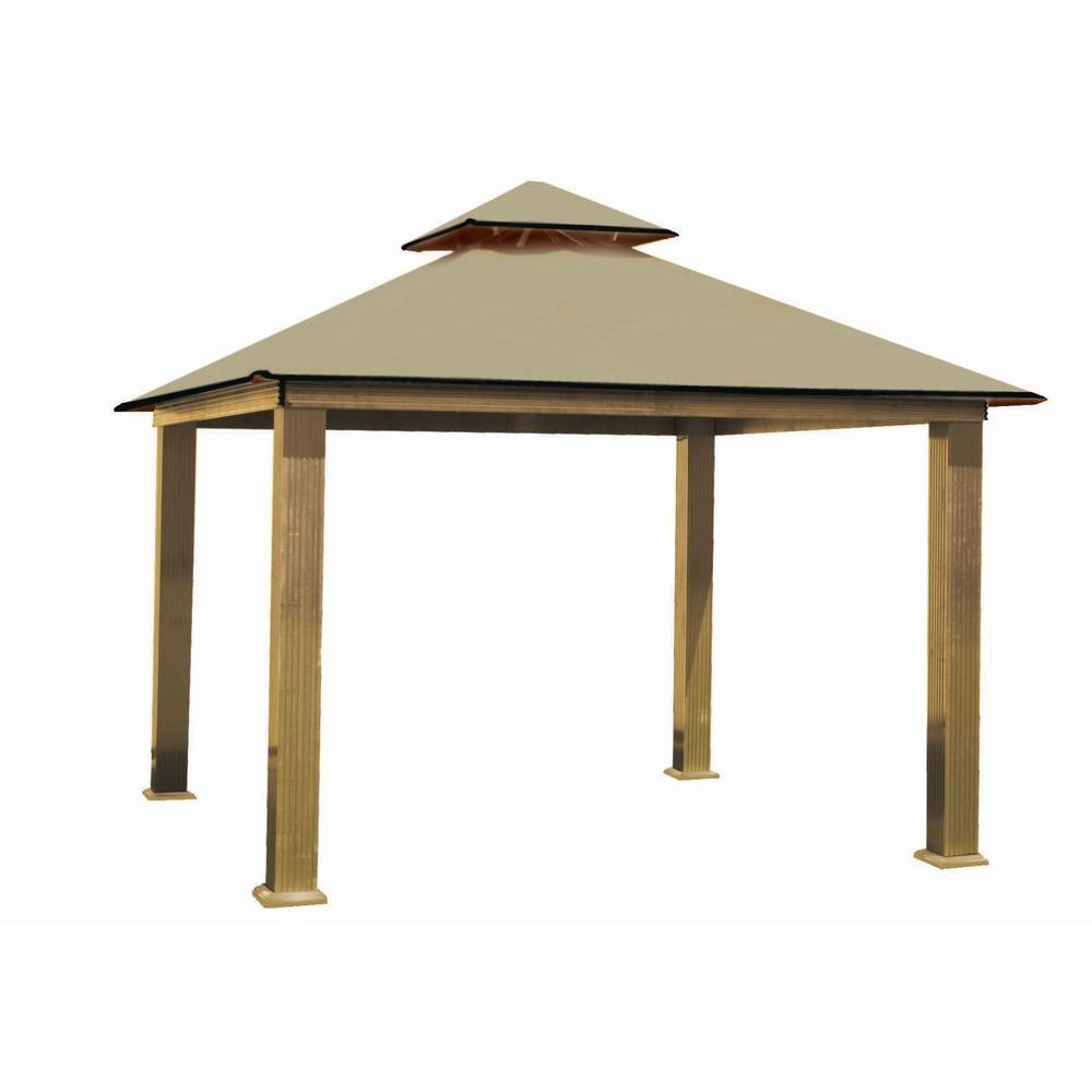 12 ft. x 12 ft. ACACIA Aluminum Gazebo with Khaki Canopy by