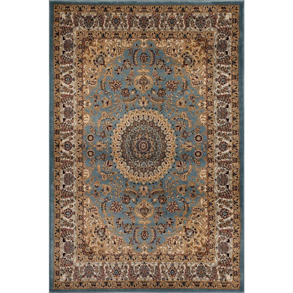 World Rug Gallery Traditional Oriental Medallion Design Blue 5 Ft X 7 Indoor