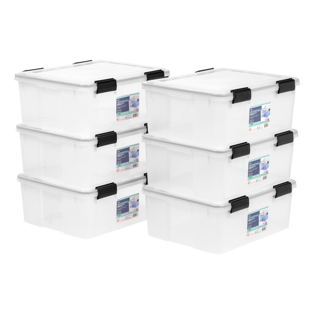 30-Qt. Weathertight Storage Box in Clear (6-Pack)