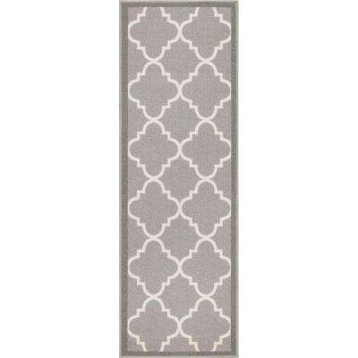 Kings Court Brooklyn Trellis Grey 3 ft. x 12 ft. Modern Runner Rug