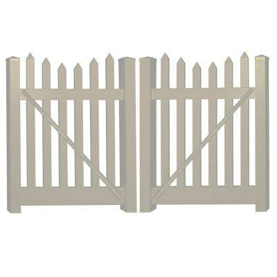 Hampshire 8 ft. W x 4 ft. H Khaki Vinyl Picket Fence Gate