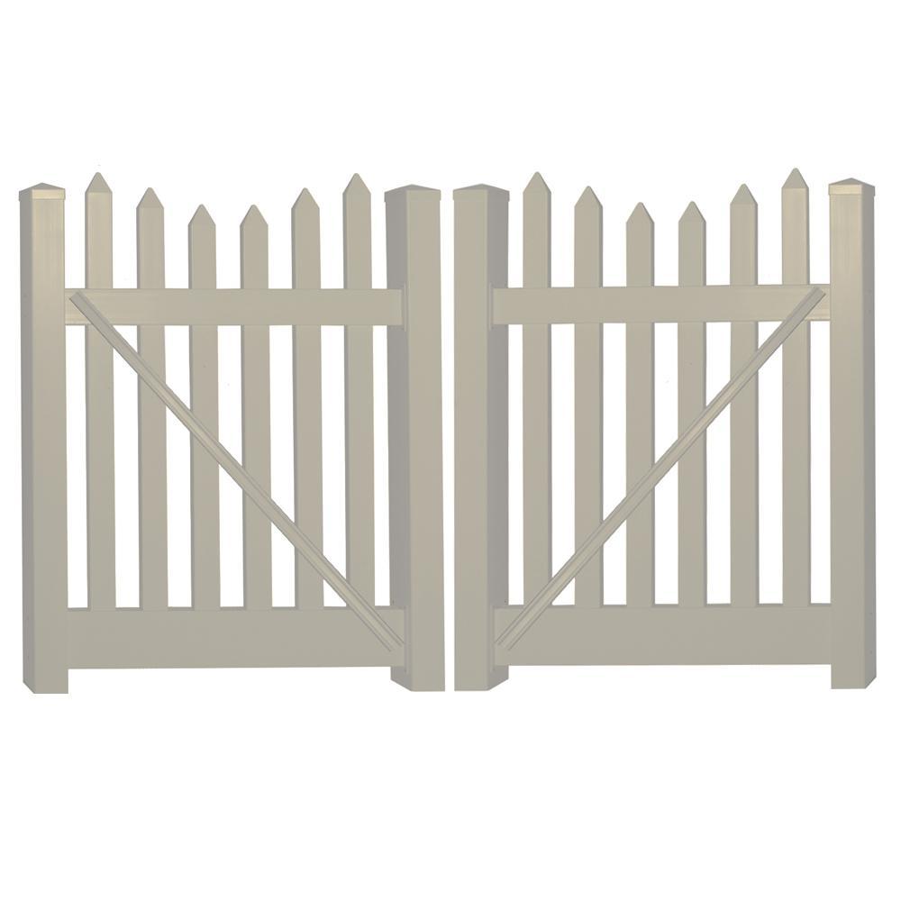 Hampshire 8 ft. W x 5 ft. H Khaki Vinyl Picket Fence Gate