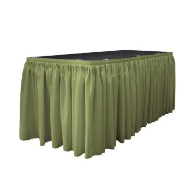 30 ft. x 29 in. Long Dark Sage Polyester Poplin Table Skirt with 15 L-Clips