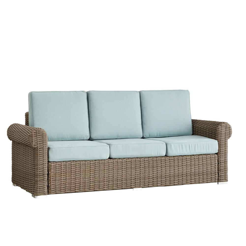 HomeSullivan Camari Mocha Rolled Arm Wicker Outdoor Sofa With Blue Cushion