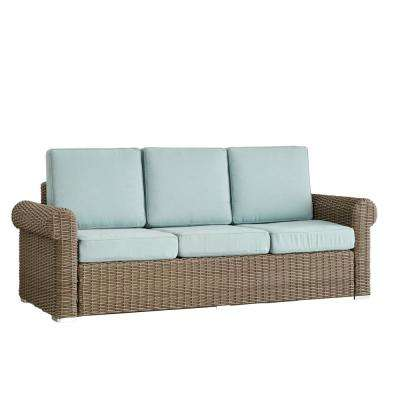 Camari Mocha Rolled Arm Wicker Outdoor Sofa with Blue Cushion