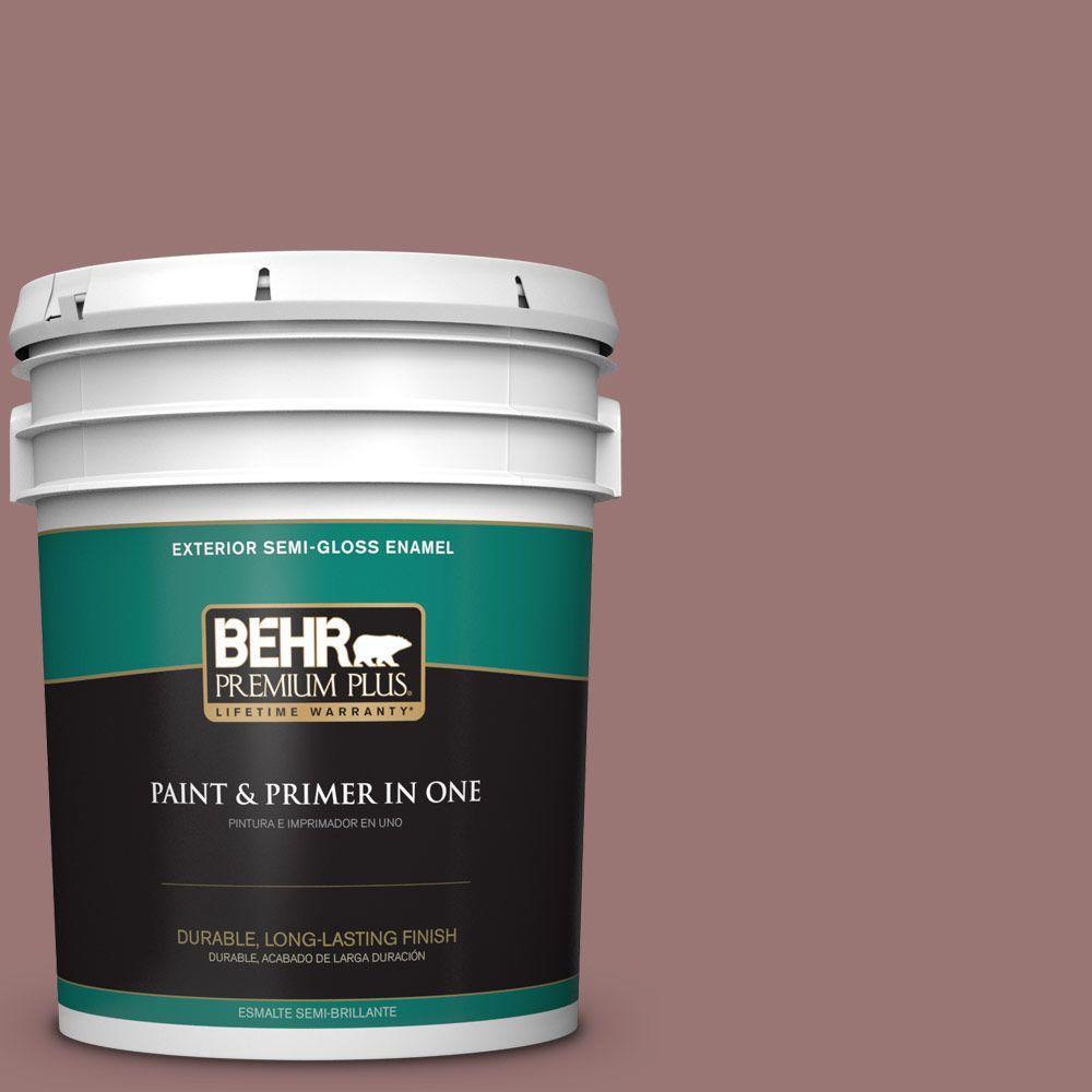 BEHR Premium Plus 5-gal. #120F-5 Hickory Stick Semi-Gloss Enamel Exterior Paint
