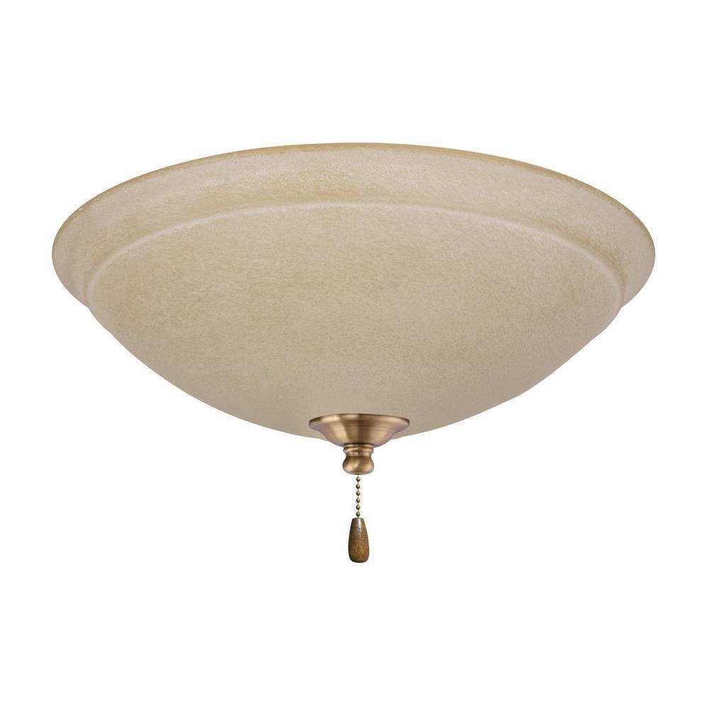 Ashton Amber Mist 3-Light Antique Brass Ceiling Fan Light Kit