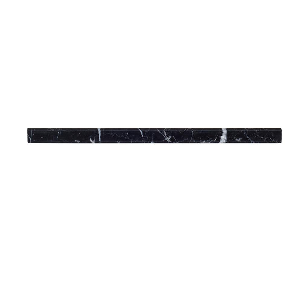 Nero Marquina 3/4 in. x 12 in. Polished Marble Dome Trim