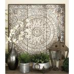 36 in. x 36 in. Traditional Square Wall Panel in Distressed Finish with Embossed Filigree
