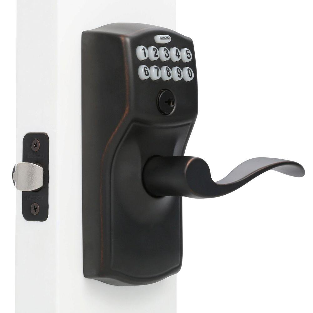 Schlage Camelot Aged Bronze Electronic Door Lock With Accent Door
