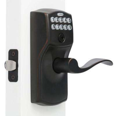 Camelot Series Aged Bronze Keypad Entry Door Lever with Accent Interior Built-In Alarm