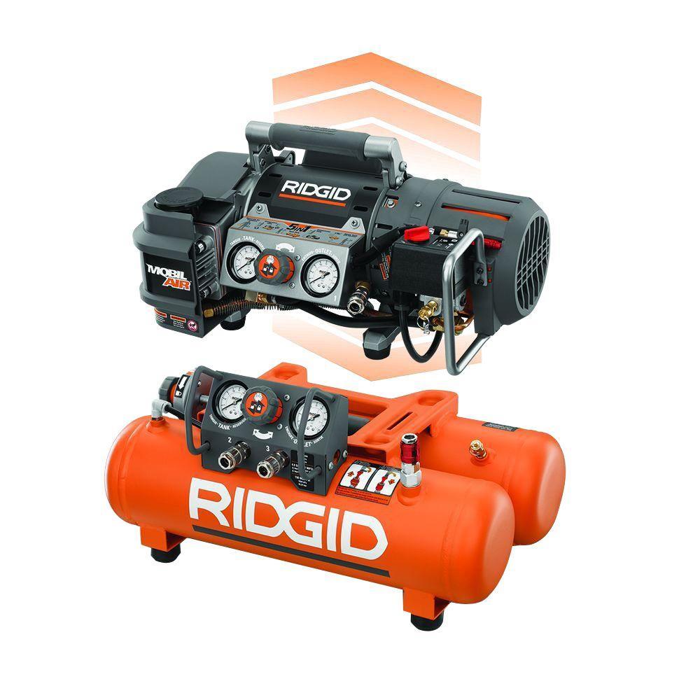 Tri-Stack 5 Gal. Portable Electric Steel Orange Air Compressor