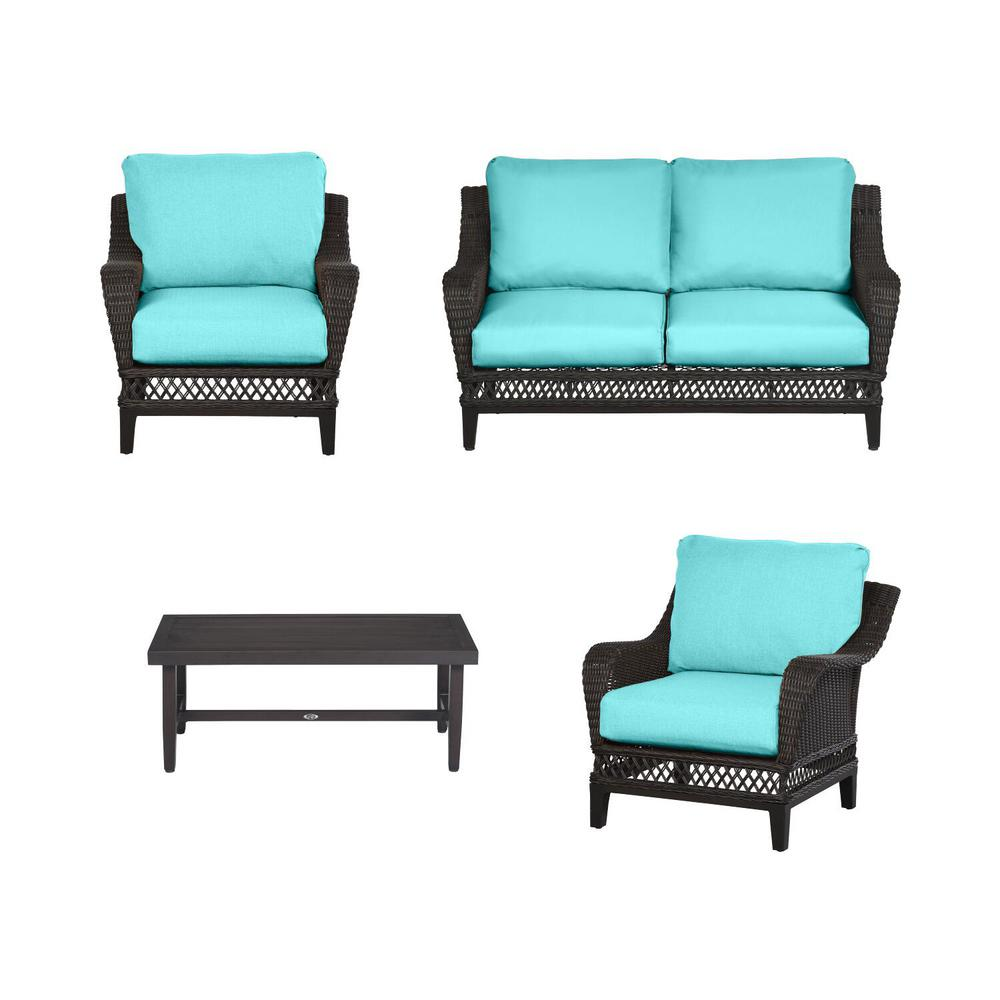 Woodbury 4-Piece Dark Brown Wicker Outdoor Patio Seating Set with CushionGuard Seaglass Turquoise Cushions