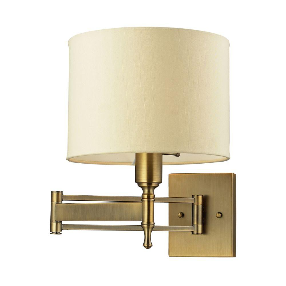 pretty nice f50fb bcccf Titan Lighting Pembroke 1-Light Antique Brass Swing Arm Wall-Mount
