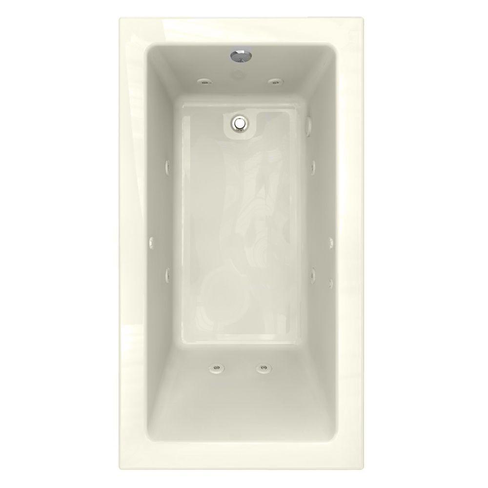 American Standard Studio EverClean Zero-Edge Profile 5.5 ft. Whirlpool Tub in Linen