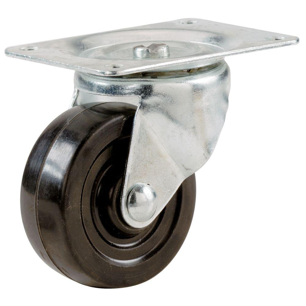 Soft Rubber Swivel Plate Caster With 40 Lb.