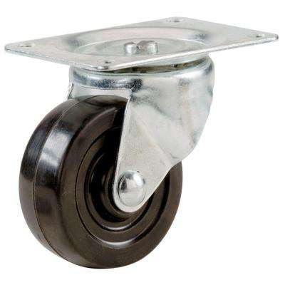 1-1/2 in. Soft Rubber Swivel Plate Caster with 40 lb. Load Rating