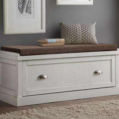 Aislins White Washed with Fabric Rectangular Storage Bench