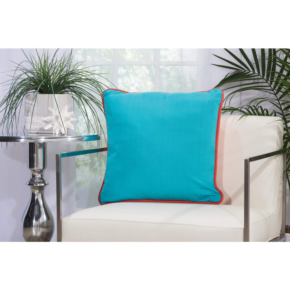 MinaVictory Mina Victory Corded Coral and Turquoise Animal Print Stain Resistant Polyester 20 in. x 20 in. Throw Pillow, Coral/Turquoise