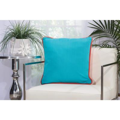 Corded Coral and Turquoise Animal Print Stain Resistant Polyester 20 in. x 20 in. Throw Pillow