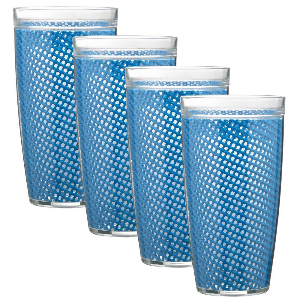 Kraftware Fishnet 24 oz. Process Blue Insulated Drinkware (Set of 4)