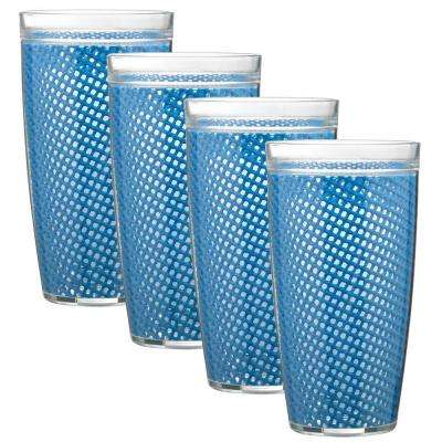 Fishnet 24 oz. Process Blue Insulated Drinkware (Set of 4)