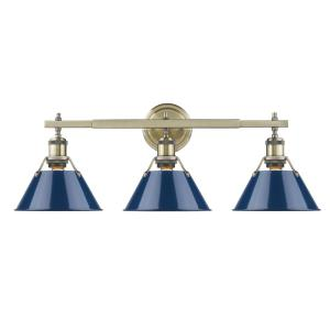 Orwell AB 3-Light Aged Brass Bath Light with Navy Blue Shade